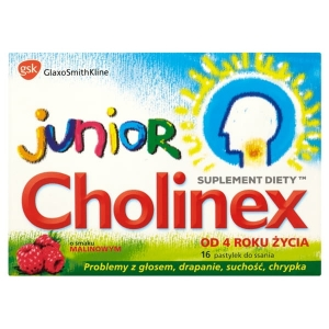 Cholinex Junior, smak malinowy, od 4 lat, 8 pastylek do ssania